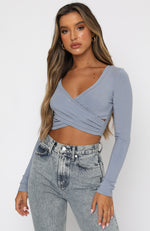 Back In Town Long Sleeve Crop Steel