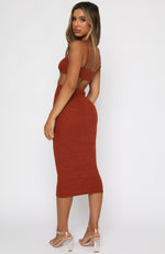 Level Headed Midi Dress Rust