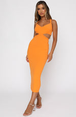 Downtown Girl Midi Dress Orange