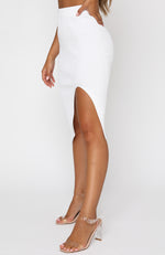 With Confidence Midi Skirt White