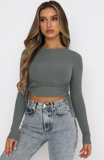 Another Time Ribbed Crop Khaki