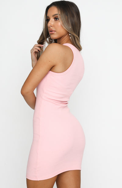 Star Power Ribbed Mini Dress Peach