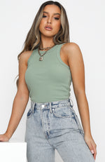 On The Go Ribbed Crop Sage