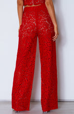 Cherie Lace Palazzo Pants Red