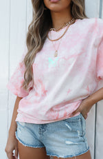 Butterfly Effect Tee Peach Tie Dye