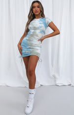 Weekend Dreaming Ribbed Mini Dress Blue Tie Dye