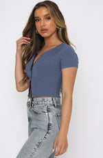 Hidden Affection Zip Front Crop Steel