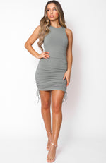 Play It Loud Drawstring Mini Dress Dusty Khaki