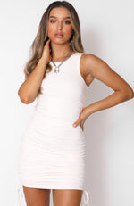 Play It Loud Drawstring Mini Dress White