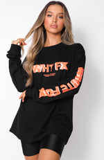 Back In Business Long Sleeve Tee Black/Coral