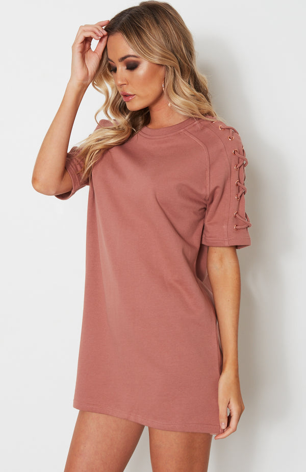 Badass Lace Up Tee Dress Dusty Rose