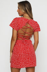Water Lily Lace Up Open Back Mini Dress Red Print