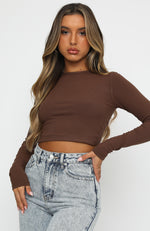 Sitting Pretty Long Sleeve Crop Chocolate