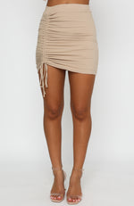 On The Record Mini Skirt Beige