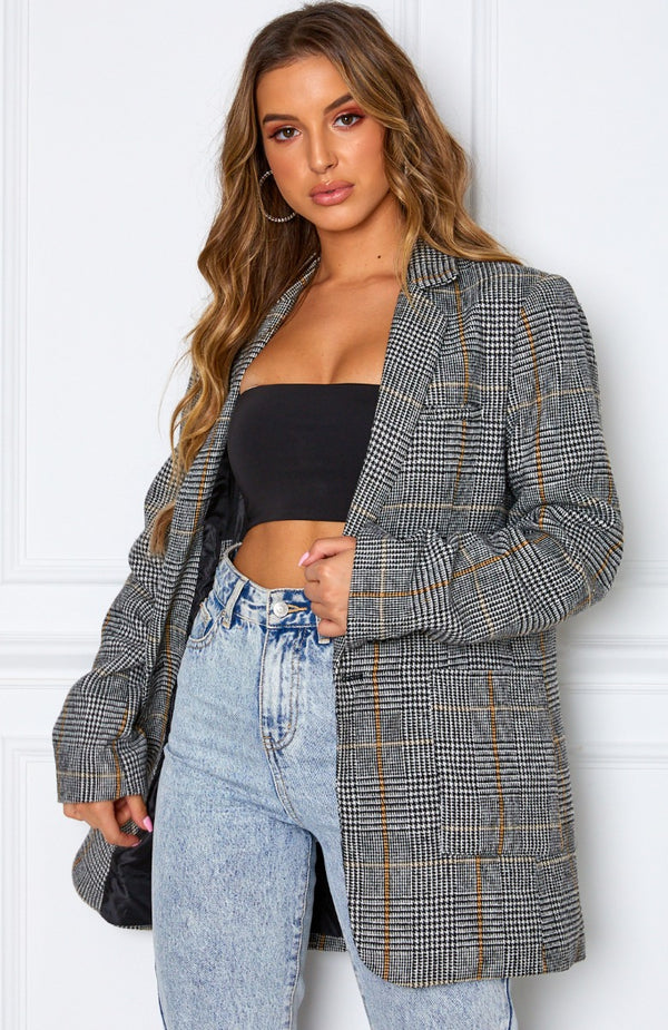 On The Rise Boyfriend Blazer Check Print