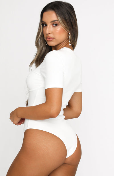 Turn It Up Ribbed Bodysuit White