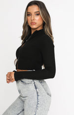 Got A Crush Long Sleeve Crop Black