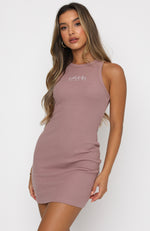 Self Love Club Waffle Mini Dress Mauve