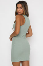 Self Love Club Waffle Mini Dress Sage