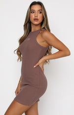 Self Love Club Waffle Mini Dress Mocha