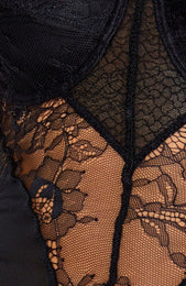 Just Like Honey Lace Bodysuit Black