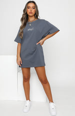 Move Me Script Tee Dress Charcoal