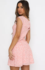 Fall Flowers Mini Dress Pink Floral