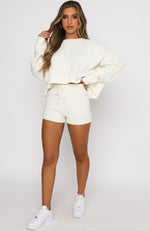 Get It Right Knit Shorts Cream