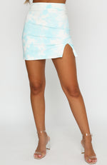 In Focus Mini Skirt Blue Tie Dye