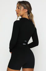 Seamless Long Sleeve Sports Crop Black