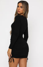 Sweet Salvation Long Sleeve Ribbed Mini Dress Black