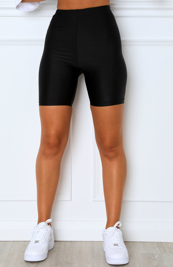 Stormi Slinky Bike Shorts Metallic Black