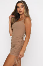 Stepping Out Mini Dress Camel