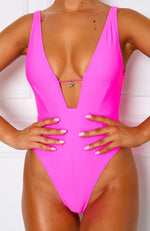 Poolside One Piece Neon Pink