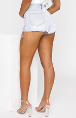 Angel Energy Denim Shorts Washed Blue Denim