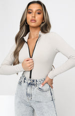 Take A Walk Long Sleeve Ribbed Bodysuit Taupe