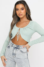 Girl Gang Long Sleeve Crop Sage