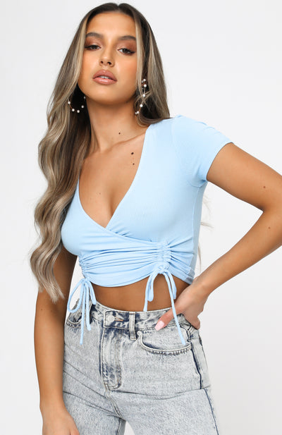 Set To Rule Ribbed Crop Blue