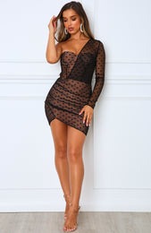Fusion Sour One Shoulder Dress Black