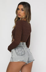 In The Now Long Sleeve Crop Chocolate