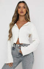 From The Heart Long Sleeve Knit Crop White