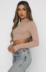 Play It Over Long Sleeve Crop Mocha