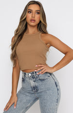 On The Go Ribbed Crop Tan