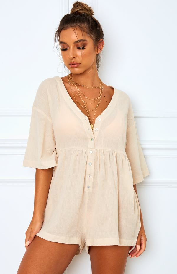 Palm Bay Playsuit Oatmeal
