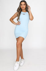 Ice Breaker Ribbed Mini Dress Baby Blue