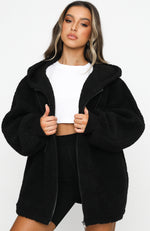 No Chill Oversized Teddy Jacket Black
