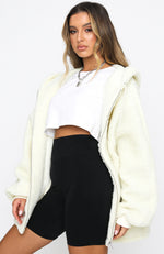 No Chill Oversized Teddy Jacket Ivory