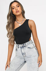 Last Impression One Shoulder Bodysuit Black