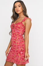 Sweet Fling Mini Dress Fuchsia Pink Print