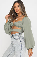 One Way Ticket Crop Dusty Khaki